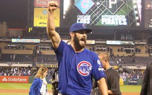 Oct 7, 2015; Pittsburgh, PA, USA; Chicago Cubs starting pitcher Jake Arrieta (49) reacts coming off of the field after pitching a complete game shutout against the Pittsburgh Pirates in the National League Wild Card playoff baseball game at PNC Park. The Cubs won 4-0. Mandatory Credit: Charles LeClaire-USA TODAY Sports